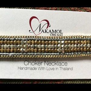 Nakamol two-tone metallic beaded choker necklace